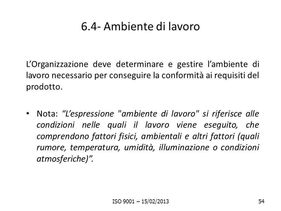6.4- Ambiente di lavoro LOrganizzazione deve determinare e gestire lambiente di lavoro necessario per conseguire la conformità ai requisiti del prodot