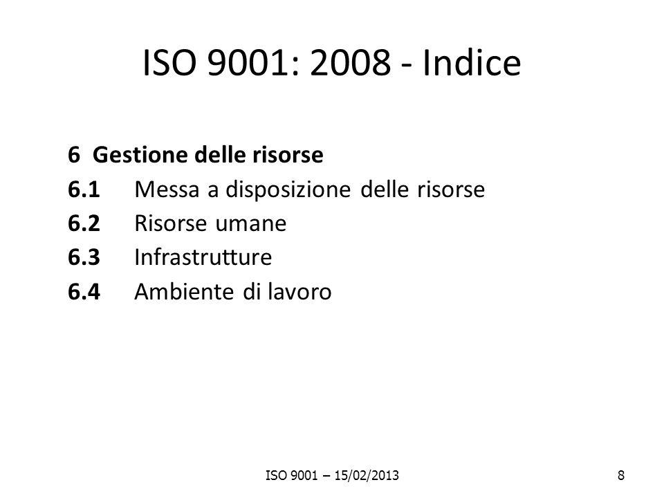 ISO 9001: 2008 - Indice 6 Gestione delle risorse 6.1 Messa a disposizione delle risorse 6.2 Risorse umane 6.3 Infrastrutture 6.4 Ambiente di lavoro IS