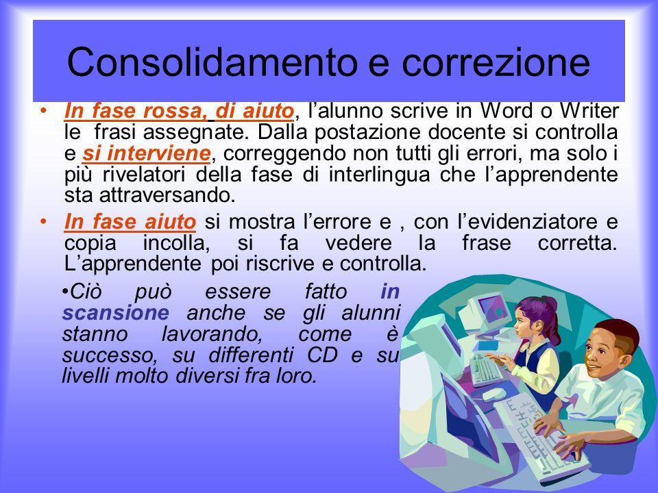 Consolidamento e correzione In fase rossa, di aiuto, lalunno scrive in Word o Writer le frasi assegnate. Dalla postazione docente si controlla e si in