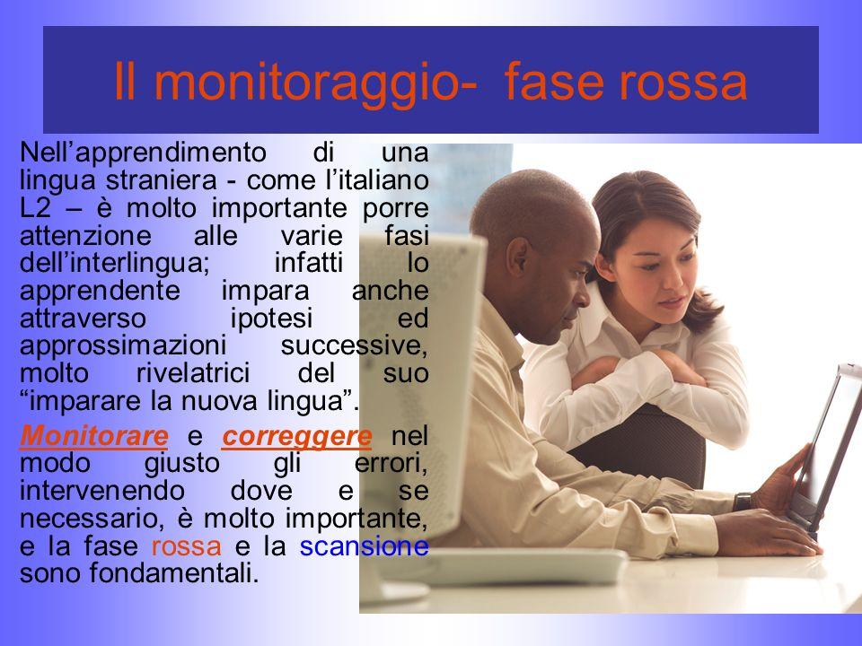 Il monitoraggio- fase rossa Nellapprendimento di una lingua straniera - come litaliano L2 – è molto importante porre attenzione alle varie fasi dellin