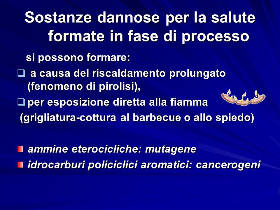 Sostanze dannose per la salute formate in fase di processo si possono formare: si possono formare: a causa del riscaldamento prolungato (fenomeno di p