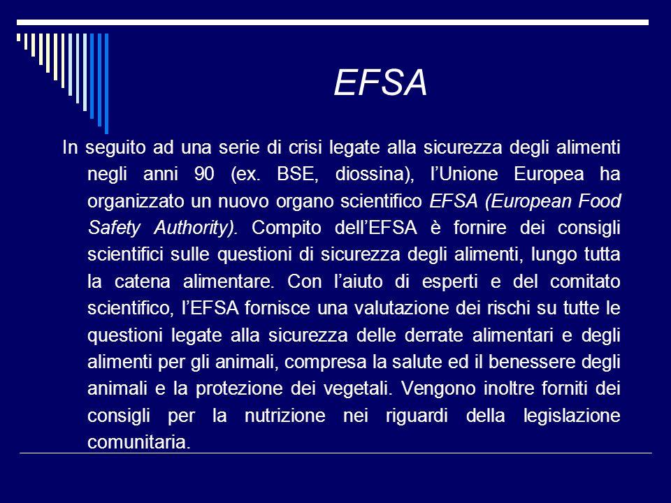 EFSA In seguito ad una serie di crisi legate alla sicurezza degli alimenti negli anni 90 (ex. BSE, diossina), lUnione Europea ha organizzato un nuovo