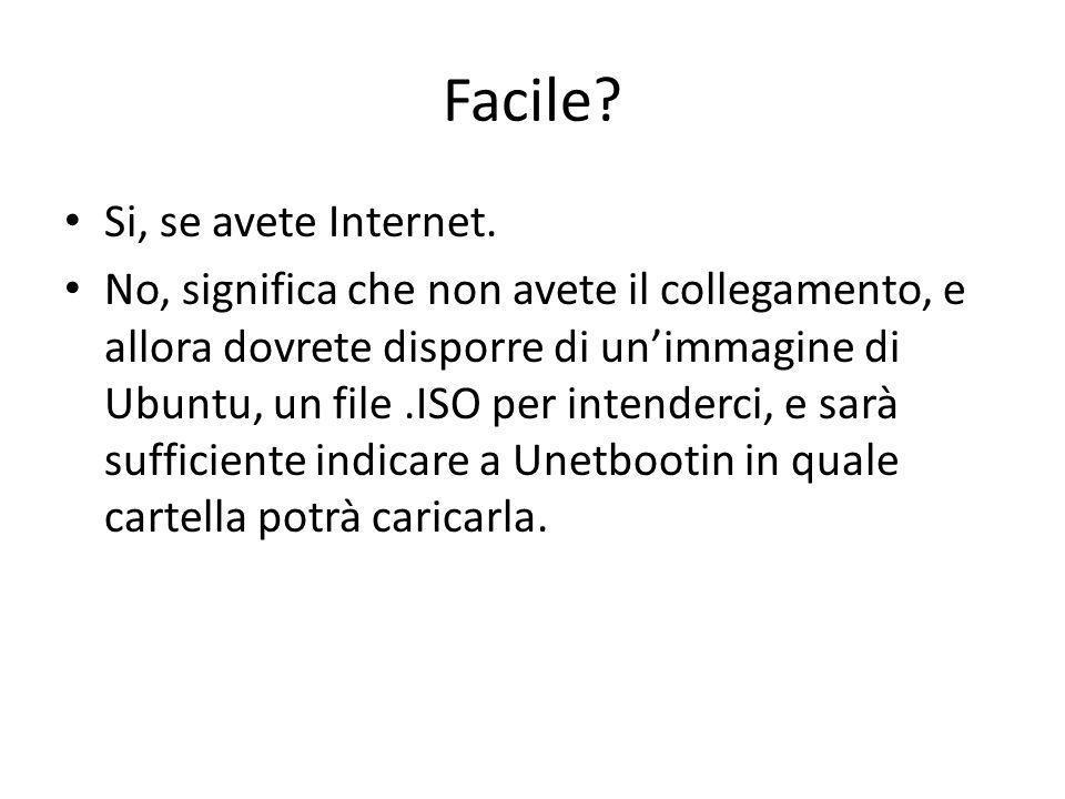 Facile? Si, se avete Internet. No, significa che non avete il collegamento, e allora dovrete disporre di unimmagine di Ubuntu, un file.ISO per intende