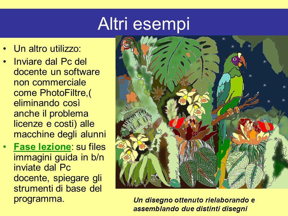 Altri esempi Un altro utilizzo: Inviare dal Pc del docente un software non commerciale come PhotoFiltre,( eliminando così anche il problema licenze e