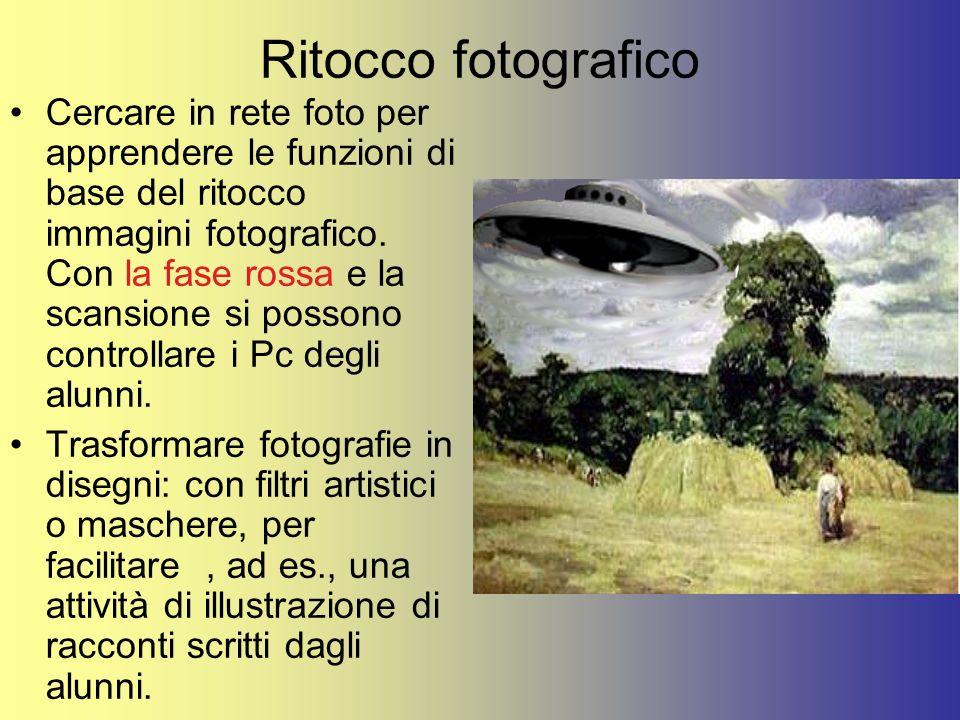 Ritocco fotografico Cercare in rete foto per apprendere le funzioni di base del ritocco immagini fotografico. Con la fase rossa e la scansione si poss