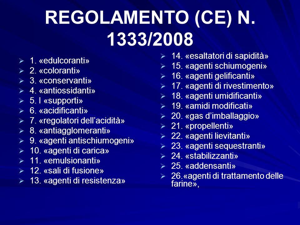 REGOLAMENTO (CE) N. 1333/2008 1. «edulcoranti» 2. «coloranti» 3. «conservanti» 4. «antiossidanti» 5. I «supporti» 6. «acidificanti» 7. «regolatori del