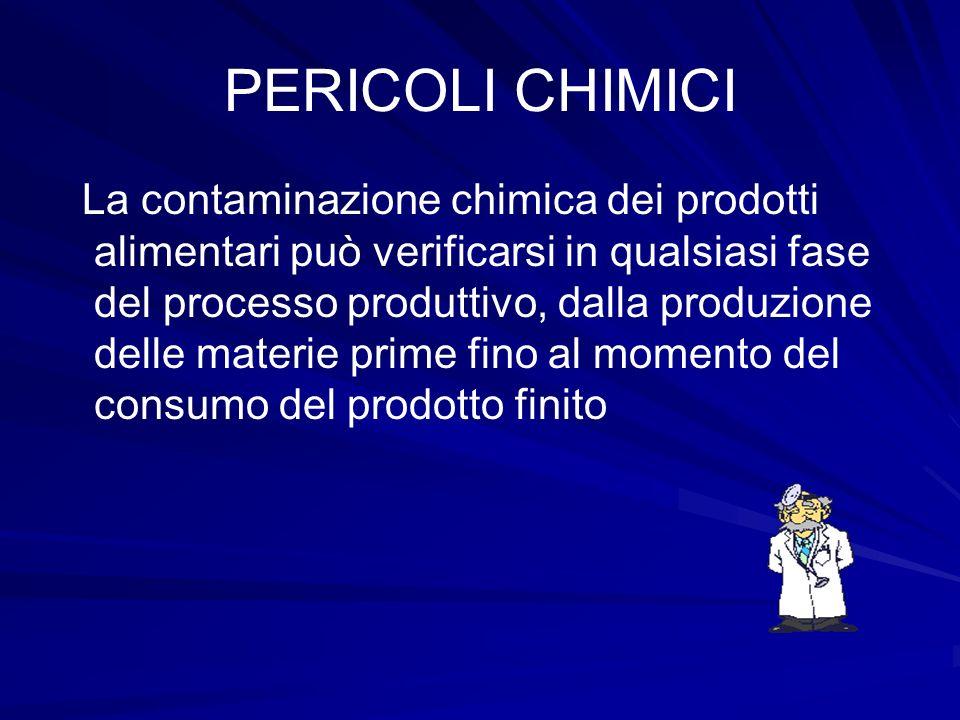PERICOLI CHIMICI La contaminazione chimica dei prodotti alimentari può verificarsi in qualsiasi fase del processo produttivo, dalla produzione delle m