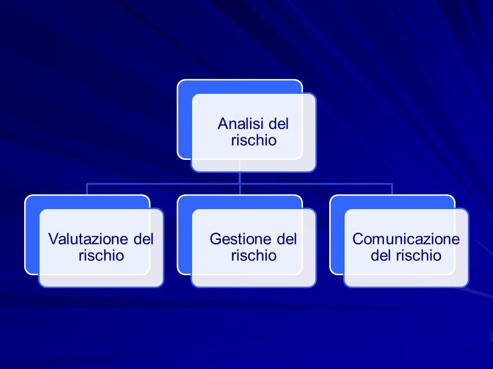 Analisi del rischio Valutazione del rischio Gestione del rischio Comunicazione del rischio