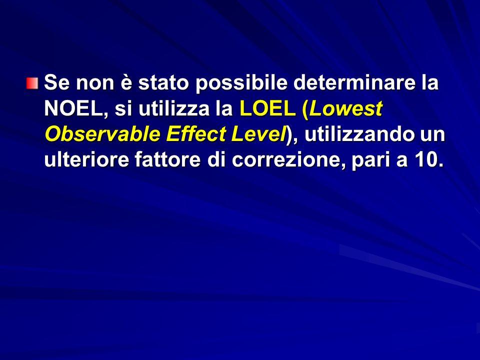 Se non è stato possibile determinare la NOEL, si utilizza la LOEL (Lowest Observable Effect Level), utilizzando un ulteriore fattore di correzione, pa