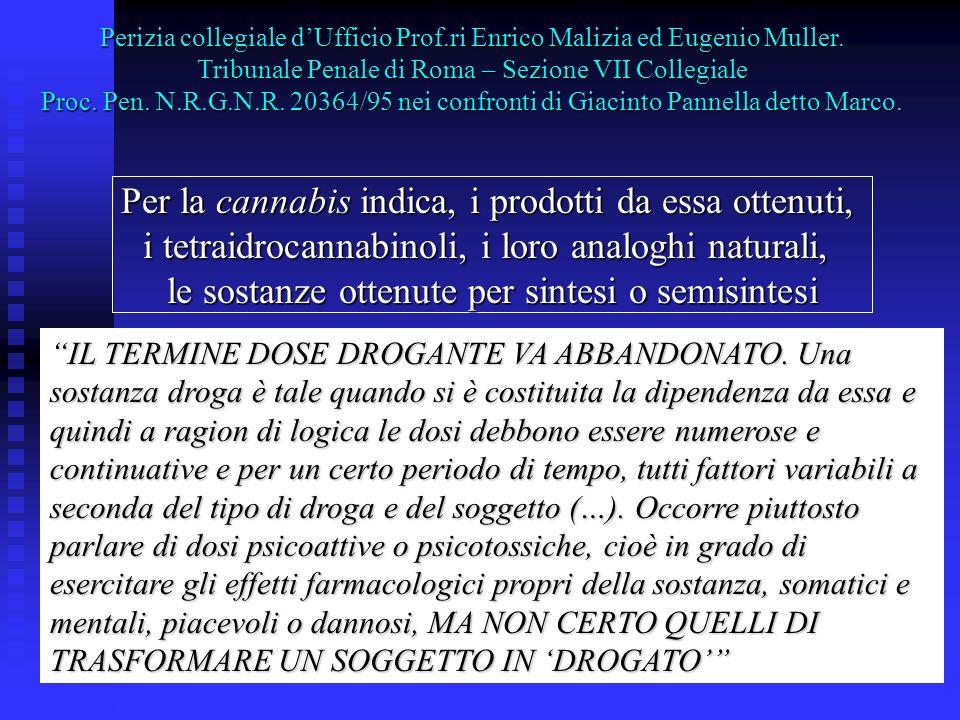 Perizia collegiale dUfficio Prof.ri Enrico Malizia ed Eugenio Muller. Tribunale Penale di Roma – Sezione VII Collegiale Proc. Pen. N.R.G.N.R. 20364/95