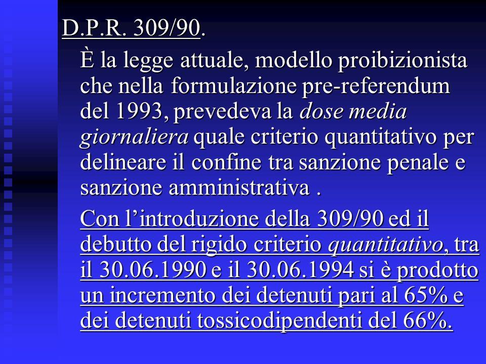 D.P.R. 309/90. È la legge attuale, modello proibizionista che nella formulazione pre-referendum del 1993, prevedeva la dose media giornaliera quale cr