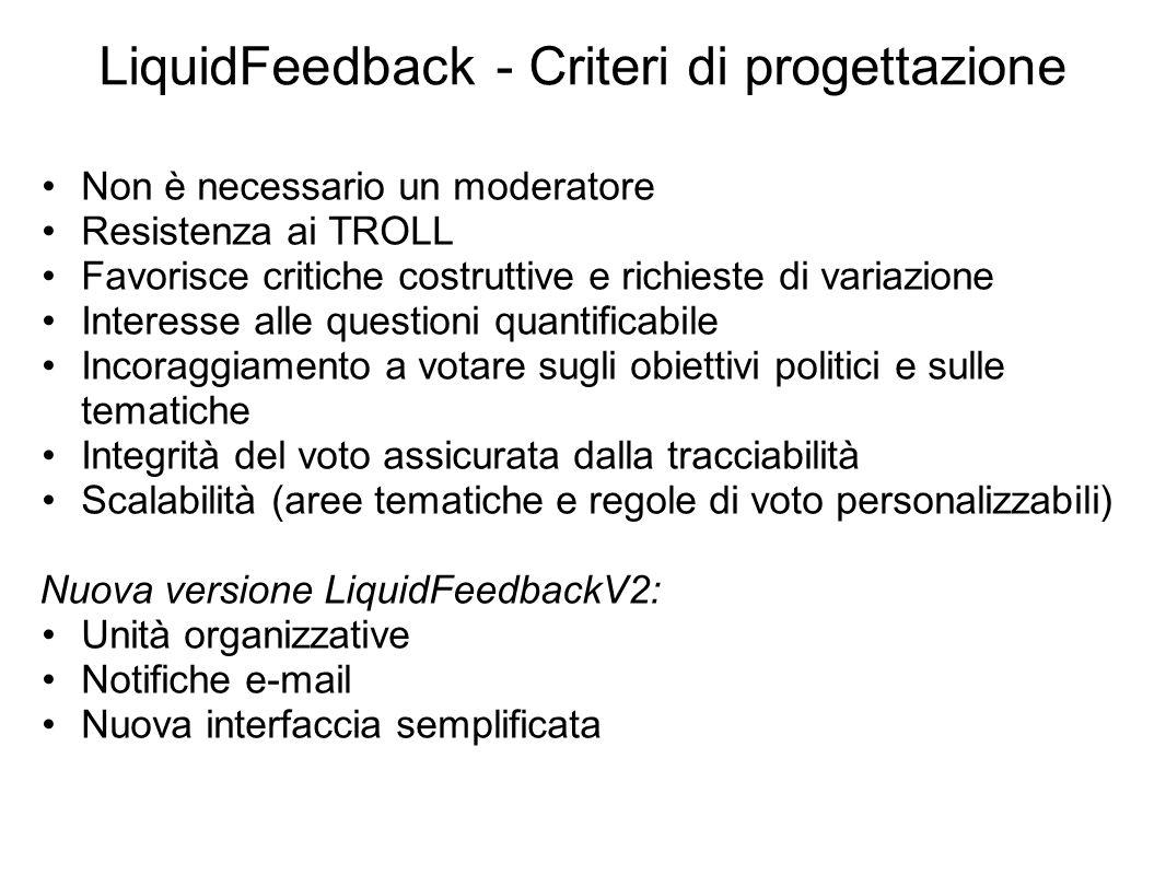LiquidFeedback - Criteri di progettazione Non è necessario un moderatore Resistenza ai TROLL Favorisce critiche costruttive e richieste di variazione