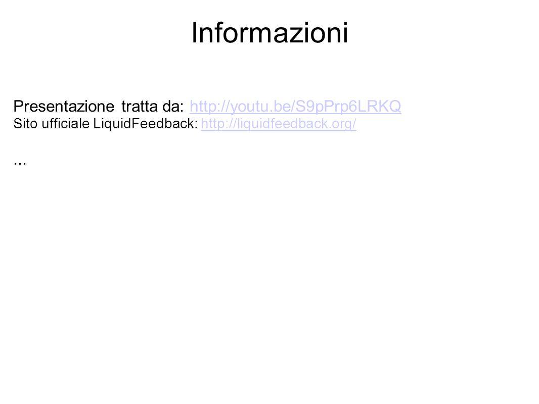 Informazioni Presentazione tratta da: http://youtu.be/S9pPrp6LRKQ Sito ufficiale LiquidFeedback: http://liquidfeedback.org/http://youtu.be/S9pPrp6LRKQ