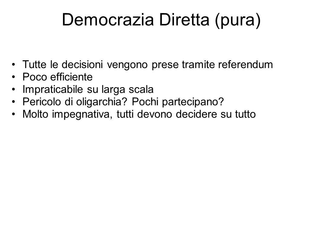 Democrazia Diretta (pura) Tutte le decisioni vengono prese tramite referendum Poco efficiente Impraticabile su larga scala Pericolo di oligarchia? Poc