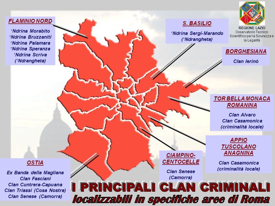 BORGHESIANA Clan Ierinò S. BASILIO Ndrina Sergi-Marando (Ndrangheta) TOR BELLA MONACA ROMANINA Clan Alvaro Clan Casamonica (criminalità locale) APPIO