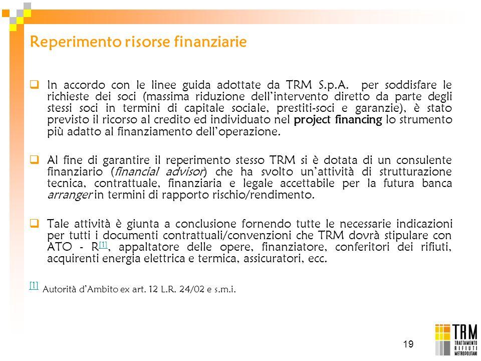 19 Reperimento risorse finanziarie In accordo con le linee guida adottate da TRM S.p.A. per soddisfare le richieste dei soci (massima riduzione dellin
