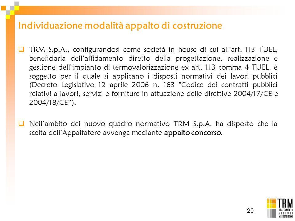 20 Individuazione modalità appalto di costruzione TRM S.p.A., configurandosi come società in house di cui allart. 113 TUEL, beneficiaria dellaffidamen