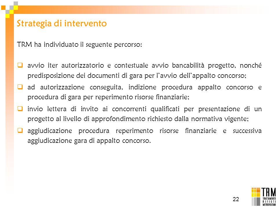 22 Strategia di intervento TRM ha individuato il seguente percorso: avvio iter autorizzatorio e contestuale avvio bancabilità progetto, nonché predisp
