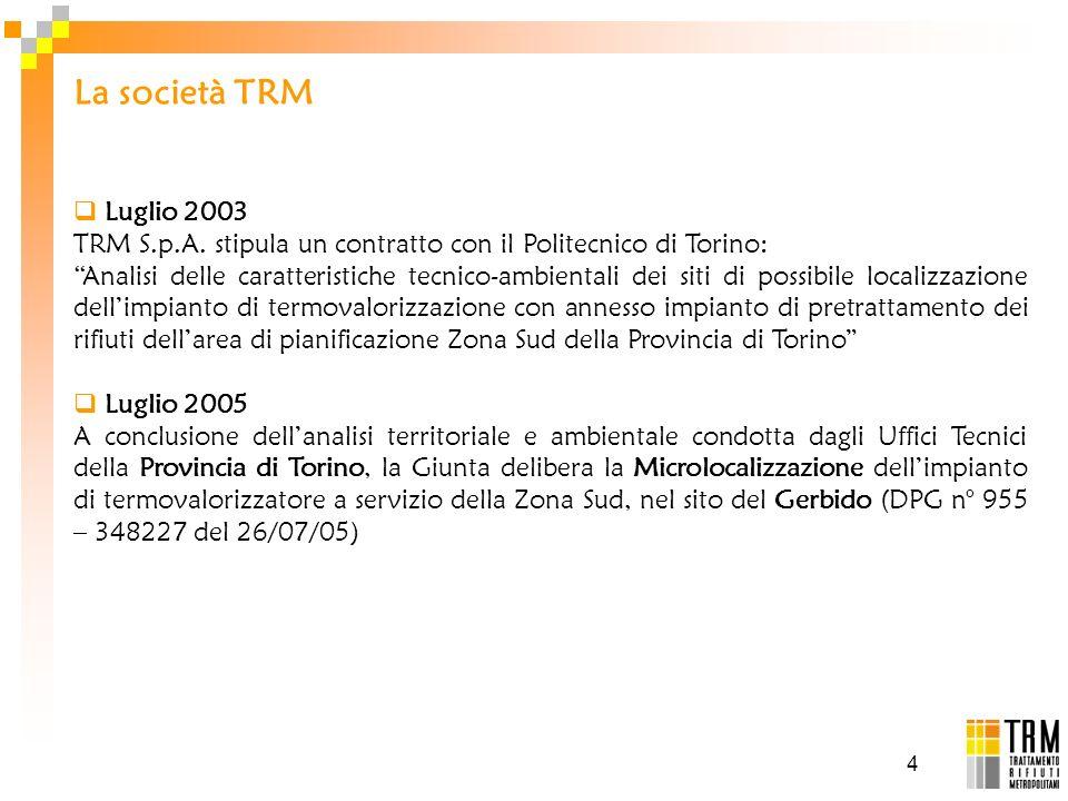 4 Luglio 2003 TRM S.p.A. stipula un contratto con il Politecnico di Torino: Analisi delle caratteristiche tecnico-ambientali dei siti di possibile loc