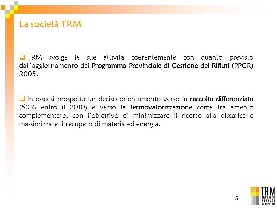 5 TRM svolge le sue attività coerentemente con quanto previsto dallaggiornamento del Programma Provinciale di Gestione dei Rifiuti (PPGR) 2005. In ess