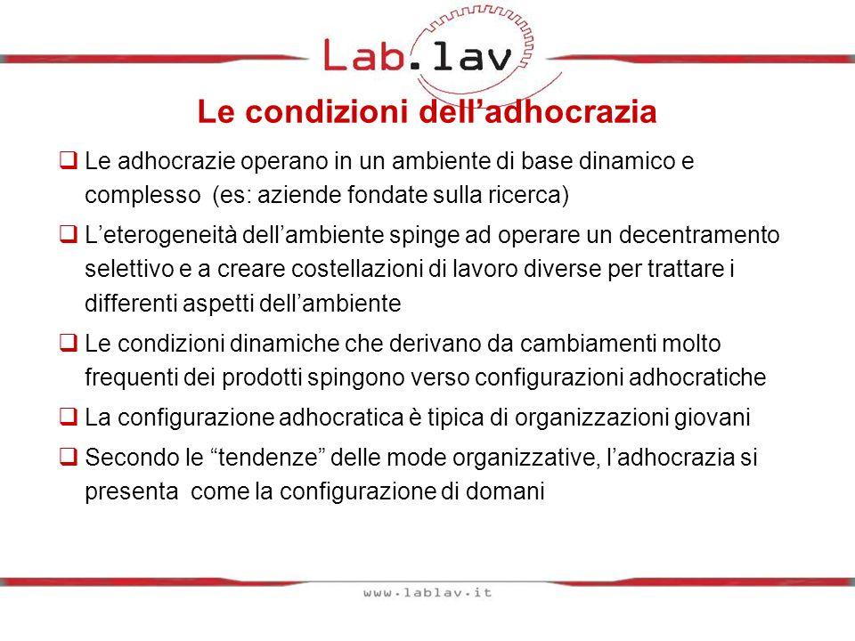 Le condizioni delladhocrazia Le adhocrazie operano in un ambiente di base dinamico e complesso (es: aziende fondate sulla ricerca) Leterogeneità della
