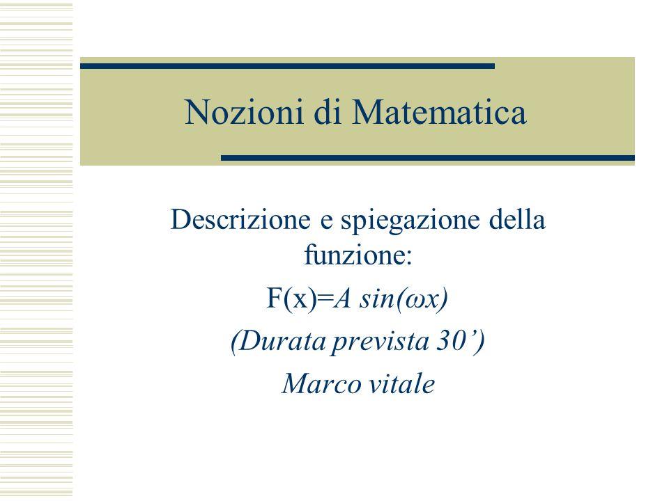 Nozioni di Matematica Descrizione e spiegazione della funzione: F(x)=A sin(ωx) (Durata prevista 30) Marco vitale