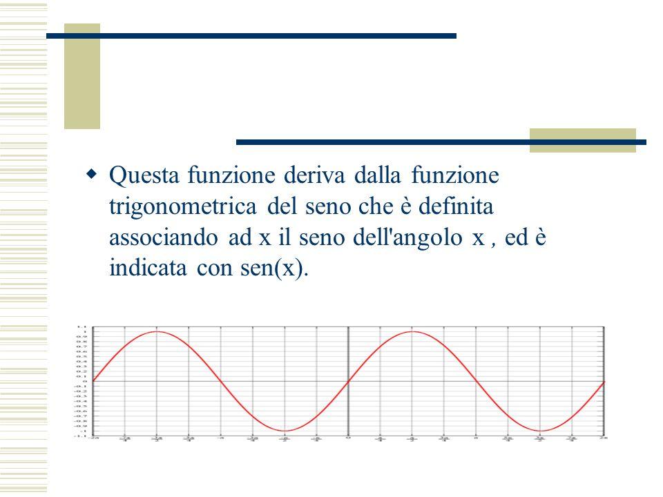Questa funzione deriva dalla funzione trigonometrica del seno che è definita associando ad x il seno dell angolo x, ed è indicata con sen(x).