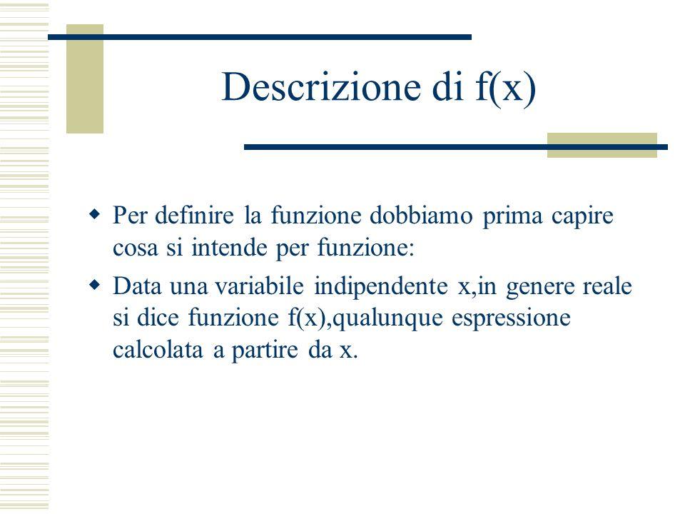 Per definire la funzione dobbiamo prima capire cosa si intende per funzione: Data una variabile indipendente x,in genere reale si dice funzione f(x),qualunque espressione calcolata a partire da x.