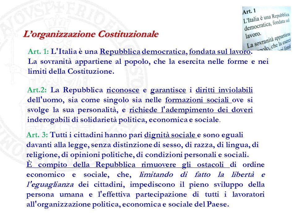 Lorganizzazione Costituzionale Art. 1: L'Italia è una Repubblica democratica, fondata sul lavoro. La sovranità appartiene al popolo, che la esercita n