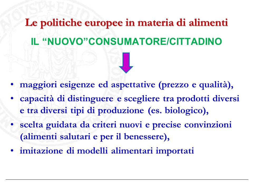 Le politiche europee in materia di alimenti IL NUOVOCONSUMATORE/CITTADINO maggiori esigenze ed aspettative (prezzo e qualità), capacità di distinguere