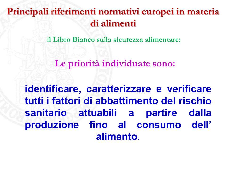 Principali riferimenti normativi europei in materia di alimenti il Libro Bianco sulla sicurezza alimentare: Le priorità individuate sono: identificare