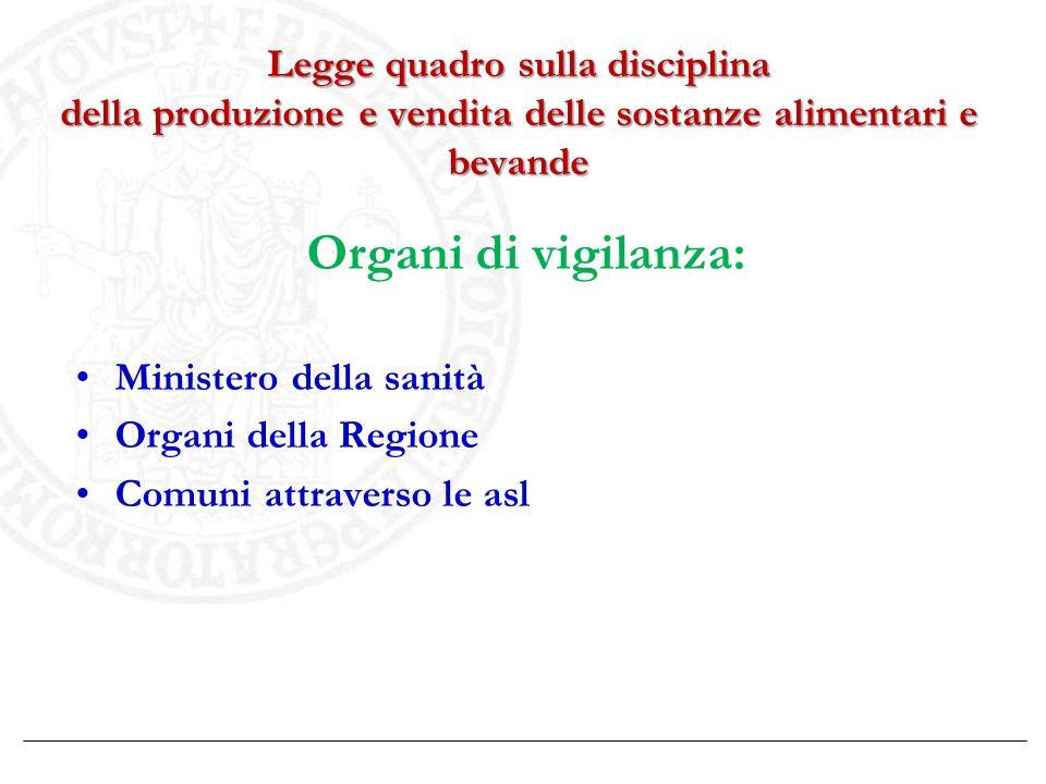 Legge quadro sulla disciplina della produzione e vendita delle sostanze alimentari e bevande Organi di vigilanza: Ministero della sanità Organi della