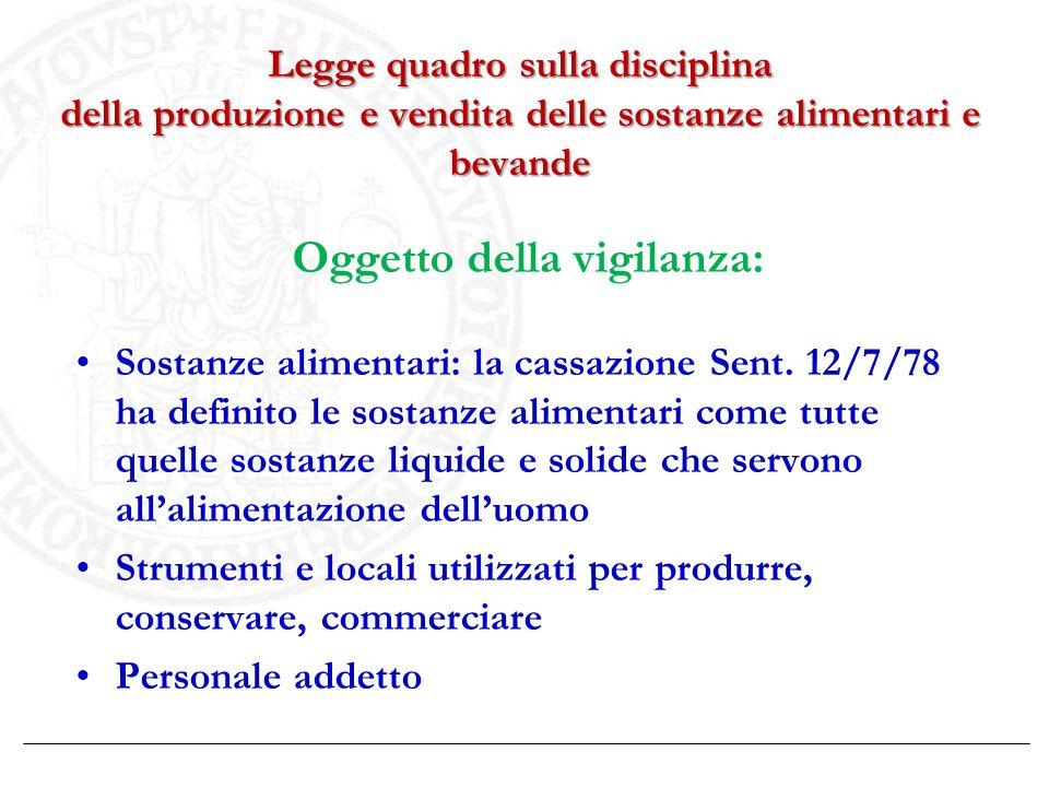 Legge quadro sulla disciplina della produzione e vendita delle sostanze alimentari e bevande Oggetto della vigilanza: Sostanze alimentari: la cassazio