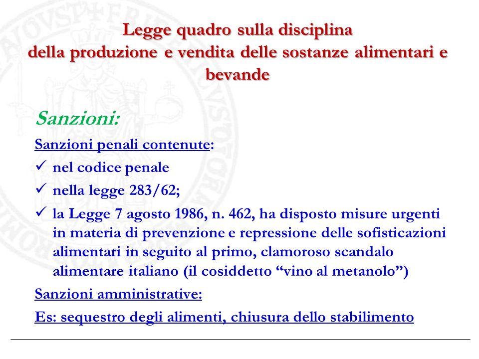 Legge quadro sulla disciplina della produzione e vendita delle sostanze alimentari e bevande Sanzioni: Sanzioni penali contenute: nel codice penale ne