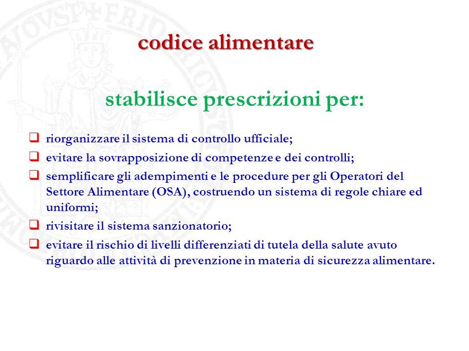 codice alimentare stabilisce prescrizioni per: riorganizzare il sistema di controllo ufficiale; evitare la sovrapposizione di competenze e dei control