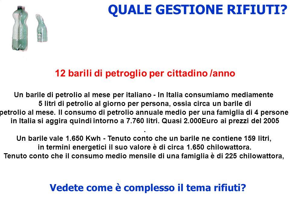 QUALE GESTIONE RIFIUTI? 12 barili di petroglio per cittadino /anno Un barile di petrolio al mese per italiano - In Italia consumiamo mediamente 5 litr