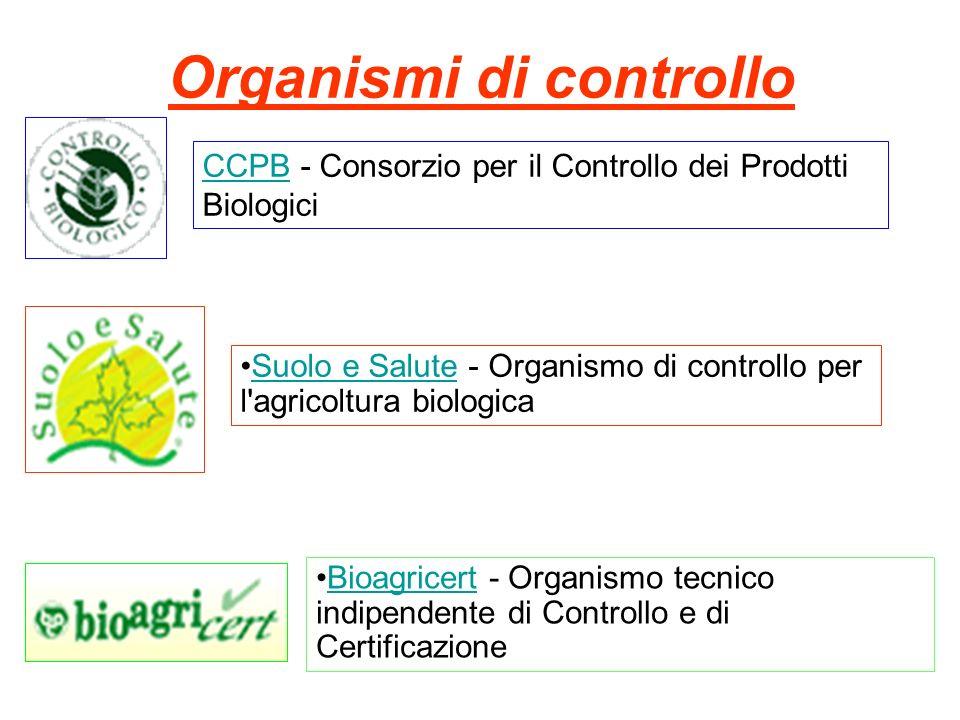 Organismi di controllo CCPBCCPB - Consorzio per il Controllo dei Prodotti Biologici Suolo e Salute - Organismo di controllo per l agricoltura biologicaSuolo e Salute Bioagricert - Organismo tecnico indipendente di Controllo e di CertificazioneBioagricert