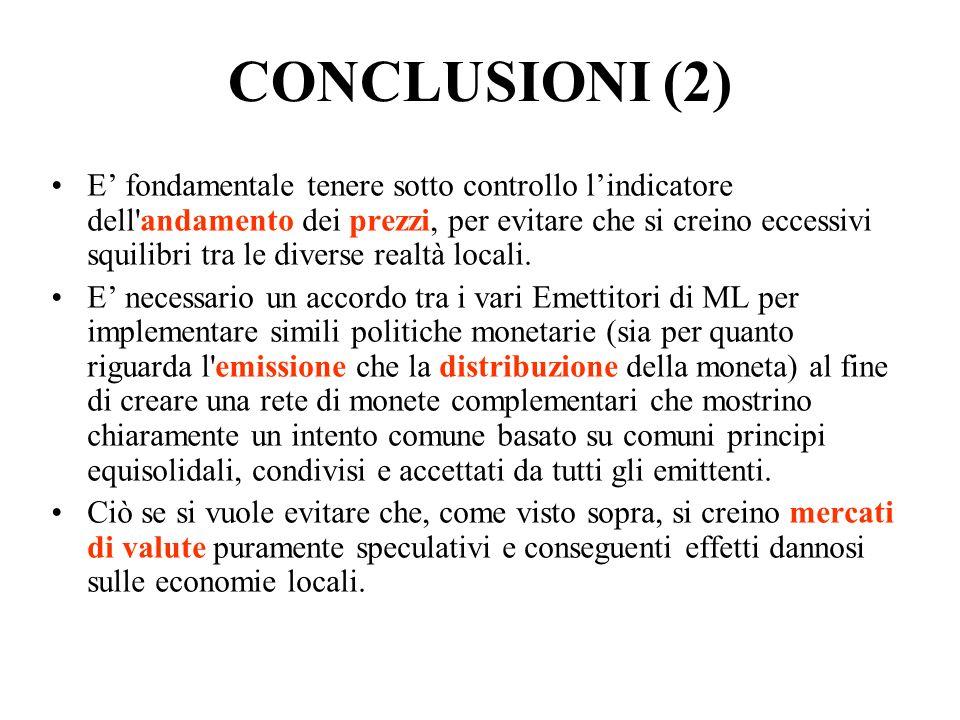 CONCLUSIONI (2) E fondamentale tenere sotto controllo lindicatore dell'andamento dei prezzi, per evitare che si creino eccessivi squilibri tra le dive