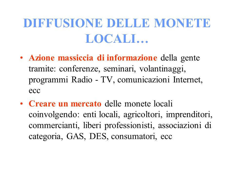 DIFFUSIONE DELLE MONETE LOCALI… Azione massiccia di informazione della gente tramite: conferenze, seminari, volantinaggi, programmi Radio - TV, comuni