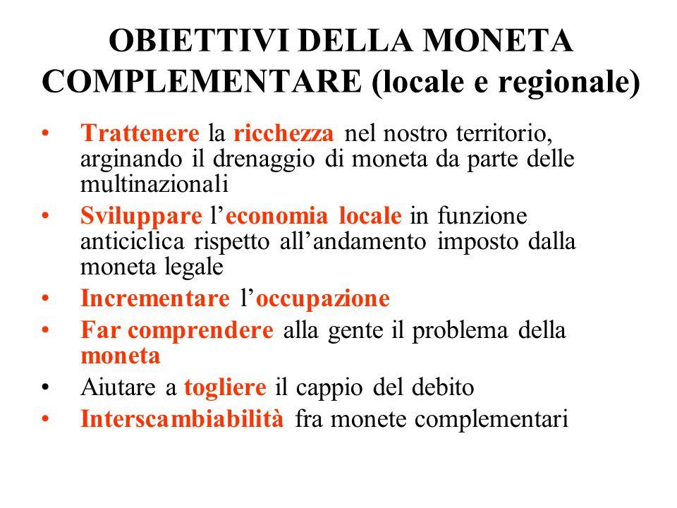 OBIETTIVI DELLA MONETA COMPLEMENTARE (locale e regionale) Trattenere la ricchezza nel nostro territorio, arginando il drenaggio di moneta da parte del