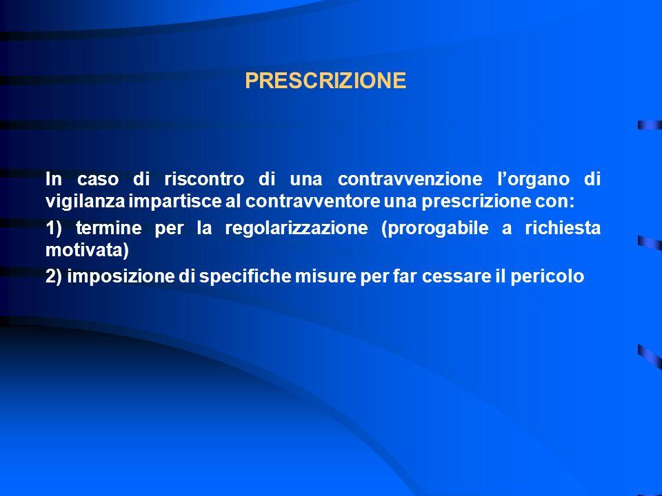 PRESCRIZIONE In caso di riscontro di una contravvenzione lorgano di vigilanza impartisce al contravventore una prescrizione con: 1) termine per la reg
