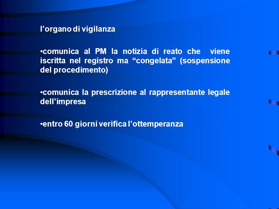 lorgano di vigilanza comunica al PM la notizia di reato che viene iscritta nel registro ma congelata (sospensione del procedimento) comunica la prescr