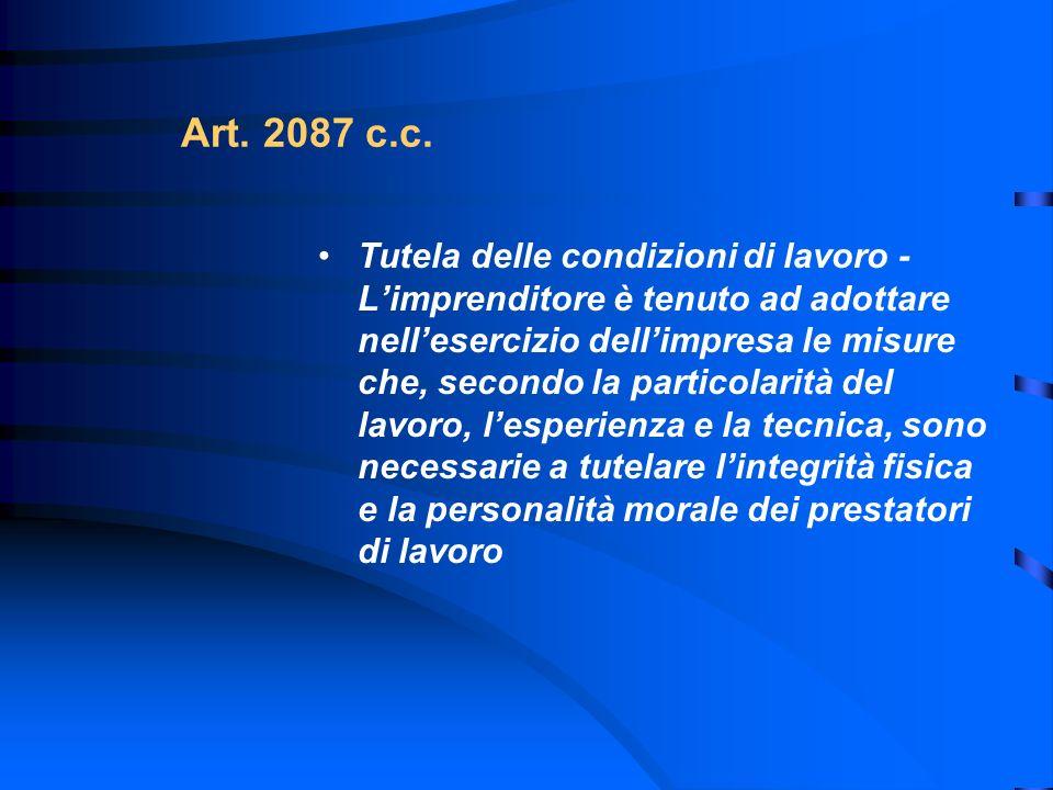 Art. 2087 c.c. Tutela delle condizioni di lavoro - Limprenditore è tenuto ad adottare nellesercizio dellimpresa le misure che, secondo la particolarit