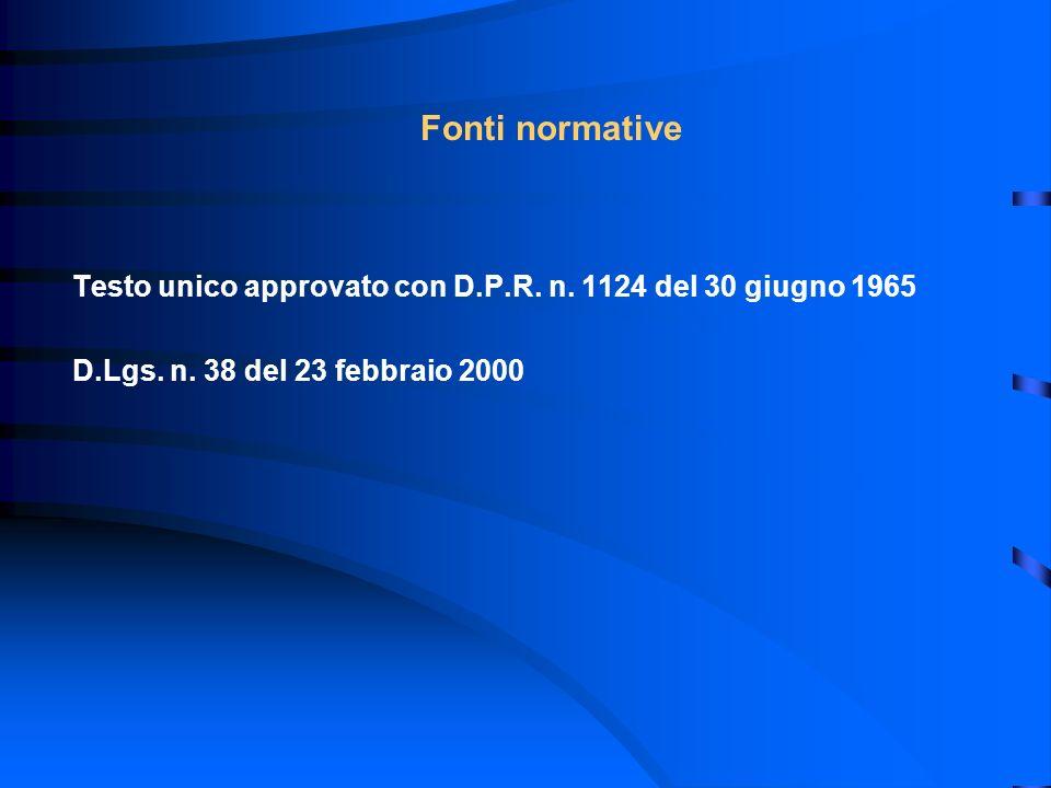 Fonti normative Testo unico approvato con D.P.R. n. 1124 del 30 giugno 1965 D.Lgs. n. 38 del 23 febbraio 2000