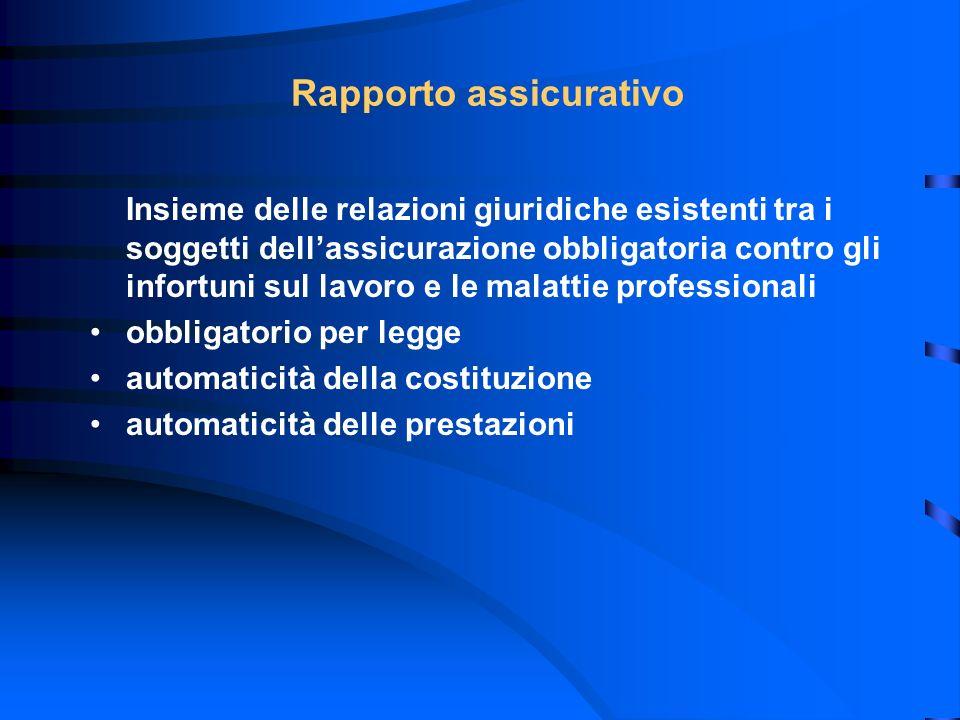 Rapporto assicurativo Insieme delle relazioni giuridiche esistenti tra i soggetti dellassicurazione obbligatoria contro gli infortuni sul lavoro e le
