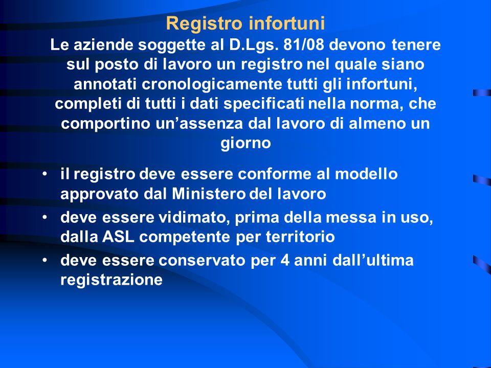 il registro deve essere conforme al modello approvato dal Ministero del lavoro deve essere vidimato, prima della messa in uso, dalla ASL competente pe