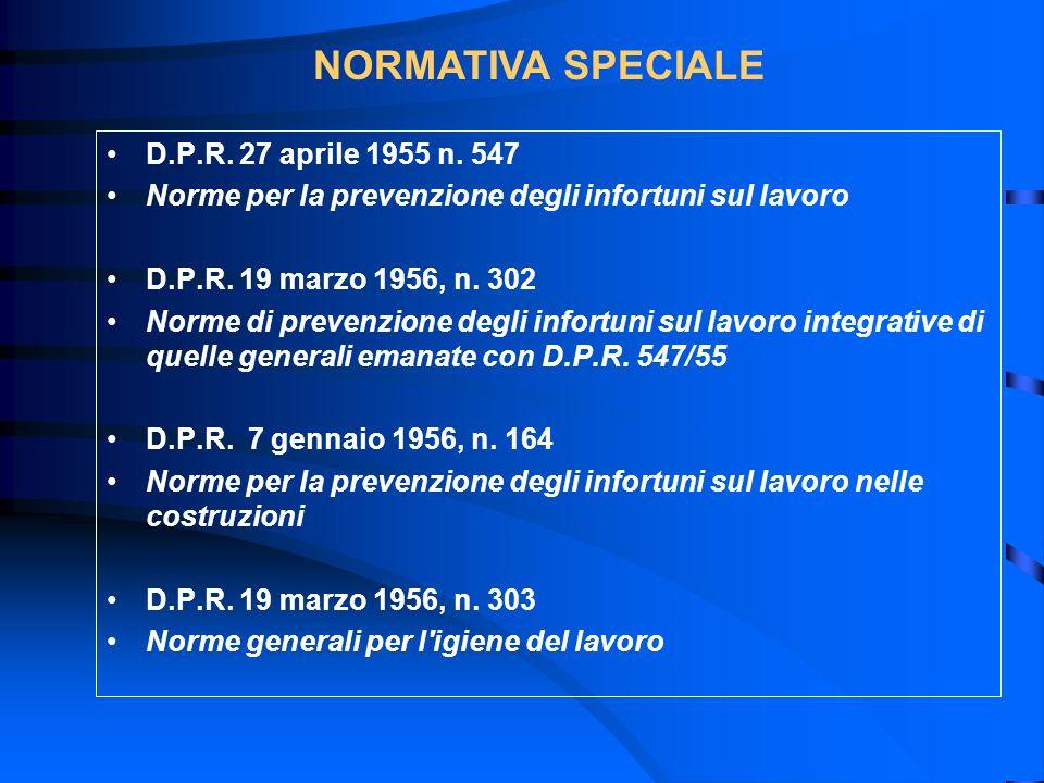 D.P.R. 27 aprile 1955 n. 547 Norme per la prevenzione degli infortuni sul lavoro D.P.R. 19 marzo 1956, n. 302 Norme di prevenzione degli infortuni sul
