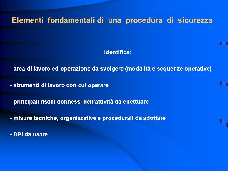 Elementi fondamentali di una procedura di sicurezza identifica: - area di lavoro ed operazione da svolgere (modalità e sequenze operative) - strumenti