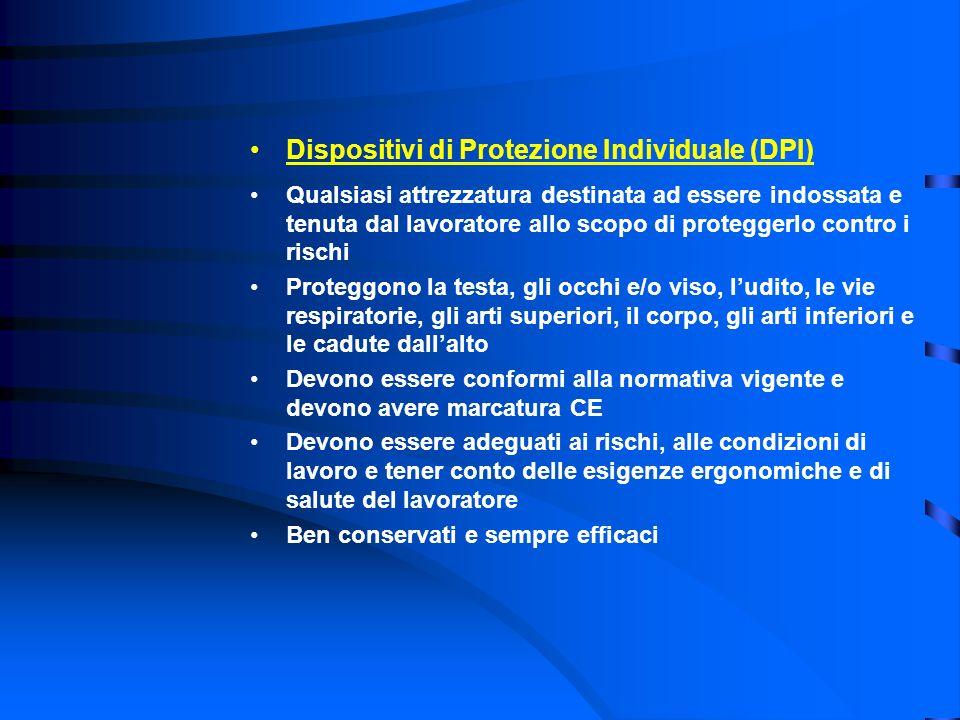 Dispositivi di Protezione Individuale (DPI) Qualsiasi attrezzatura destinata ad essere indossata e tenuta dal lavoratore allo scopo di proteggerlo con