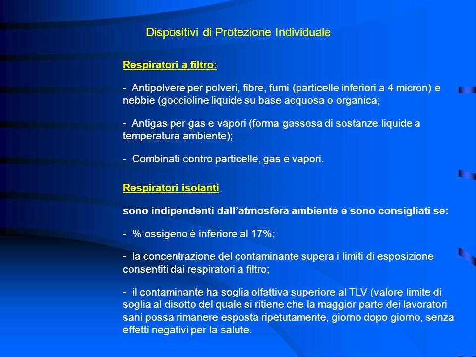 Dispositivi di Protezione Individuale Respiratori a filtro: - Antipolvere per polveri, fibre, fumi (particelle inferiori a 4 micron) e nebbie (gocciol